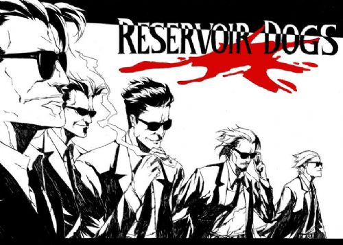 1990's Movie - RESERVOIR DOGS - MANGA SKETCH  / canvas print - self adhesive poster - photo print